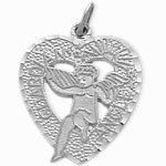 Sterling Silver Heart Guardian Angel Charm Pendant