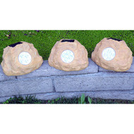 Homebrite Set of 3 Solar Power Jumbo Sandstone Rock Spot Lights