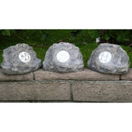 Homebrite Solar Power Jumbo Grey Rock Spot Lights (Set of 3)