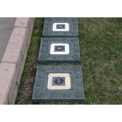 Homebrite Solar Power Square Garden Green Stepping Stones (Set Of 3)
