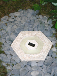 Homebrite Solar Power Hexagon White Wash Stepping Stones (Set of 3)