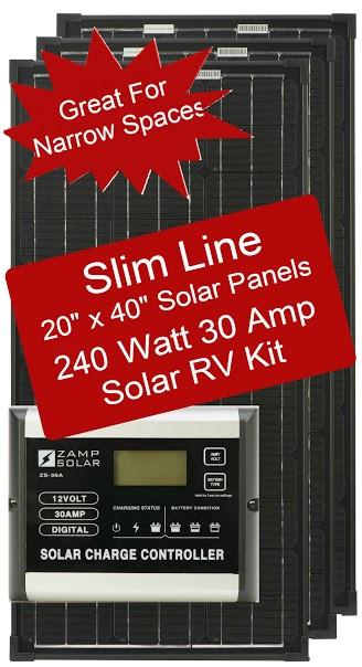Zamp Slim Line 240 Watt Solar Rv Kit 30 Amp Controller