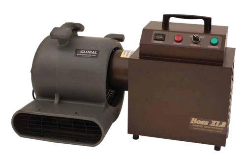 Front view of the BOSS XL3 Portable Hydroxyl Generator and Portable Air Purifier with blower attachment (not included) in a bronze powder coat finish.