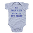 "Apericots ""I'd Rather Be With My Mom"" Cool Font Short Sleeve Baby Bodysuit"