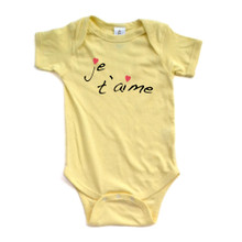 """Je t'aime"" (French for ""I Love You"") Cute Valentine's Day Short Sleeve Baby Bodysuit"