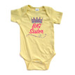 "Cute ""Big Sister"" Print on Short Sleeve Bodysuit With Multicolored Tiara Crown"