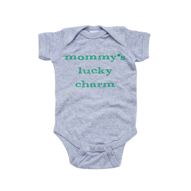 Mommy's Lucky Charm - Saint Patrick's Day Baby Short Sleeve Adorable Bodysuit