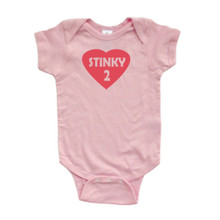 Cute Valentine's Day Baby Bodysuit Stinky 2 (Goes With Stinky 1) Twins Siblings