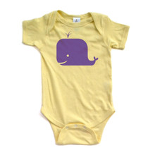 Whale Bodysuit - Purple Design Short Sleeve Baby Bodysuit