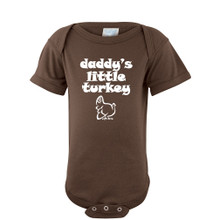 "Apericots Baby Romper With Cute ""Daddy's Little Turkey"" Thanksgiving Autumn Print"