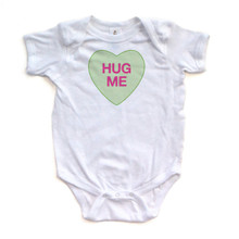 Hug Me - Candy Heart - Valentine's - White or Light Yellow Short Sleeve Baby Bodysuit
