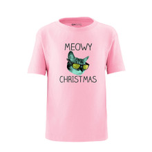 Apericots Cute Holiday Meowy Christmas Pun Xmas Kitty Cat Funny Unisex Kids Tee