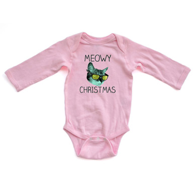 Apericots Cute Holiday Meowy Christmas Pun Xmas Kitty Cat Long Sleeve Baby Bodysuit