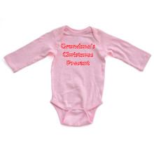 Apericots Candy Cane Striped Grandma's Christmas Present Cute Long Sleeve Baby Romper
