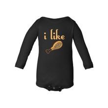 "Apericots ""I Like Turkey"" Funny Unisex Infant Thanksgiving Foodie Fun Holiday Cute Comfy Long Sleeve Baby Bodysuit"