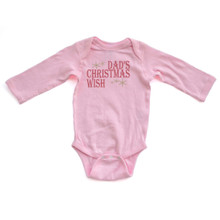 Apericots Dad's Christmas Wish Cute Festive Winter Holiday Christmas Baby Long Sleeve Soft Cotton Creeper
