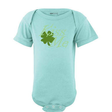 Apericots Kiss Me Green Shamrock Saint Patricks Day Cute Baby Cotton Bodysuit