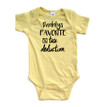 Apericots Daddy's Favorite Tax Deduction Silly Cute Short Sleeve Baby Bodysuit