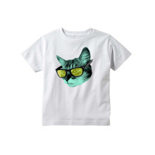 Quirky Gender Neutral Kids Tee Funky Kitty Cat Wearing Glasses