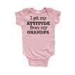I Get My Attitude From My Grandpa Cute Short Sleeve Baby Bodysuit
