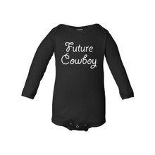 "Long Sleeve Baby Boy Country Western ""Future Cowboy"" Infant Romper"