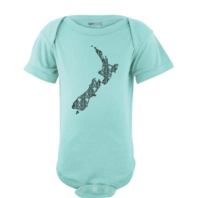 New Zealand Map Outline Aotearoa Kiwi Maori Pattern Baby Unisex Bodysuit