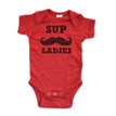 Funny Sup Ladies Mustache Short Sleeve Boys Infant Bodysuit
