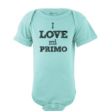 Apericots I Love Mi Primo Spanish My Cousin Cute Short Sleeve Baby Bodysuit