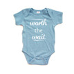 Apericots Cute Worth the Wait Infant Short Sleeve Organic Cotton Bodysuit