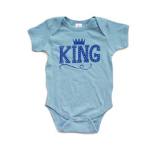 King Baby Bodysuit With Crown On Super Soft Organic Cotton
