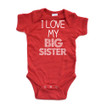 Apericots I Love My Big Sister Short Sleeve Baby Bodysuit