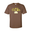Unisex I Love Tacos Adult Tee With Taco Design on Soft 100% Cotton