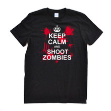 "Killer ""Keep Calm and Shoot Zombies"" Design on Black or Brown Adult Tee Shirt The Zombie Hunter Inspired Zombie Shooter Halloween or Anytime Awesome Tee"