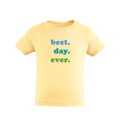Best Day Ever Blue and Green Print Gender Neutral Baby Coming Home Tee Shirt