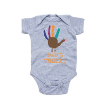 "Adorable Thanksgiving Baby ""Dad's Turkey"" One Piece Infant Bodysuit With Handprint Bird"