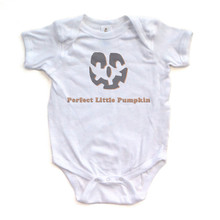 Perfect Little Pumpkin - Halloween White Short Sleeve Baby Bodysuit