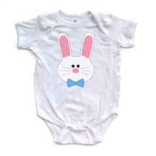 Boy Bunny - Easter - White Short Sleeve Baby Bodysuit