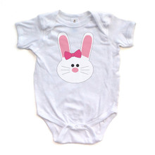 Girl Bunny - Easter - White Short Sleeve Baby Bodysuit