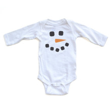 Apericots Christmas Winter Baby Long Sleeve Bodysuit Cute Adorable Snowman Face