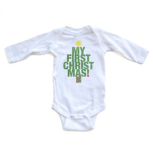 "Apericots Cute ""My First Christmas"" Tree Shape Long Sleeve Baby Soft Warm Bodysuit"