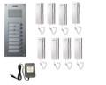 COMMAX 8-Apartment Audio Intercom Set: DR-8UM x1, DP-SS x8, RF-12015S x1