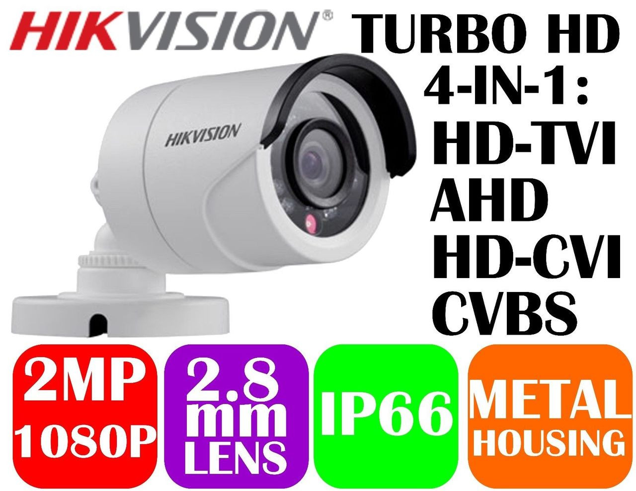 HIKVISION DS-2CE16D0T-IRF 2MP 2.8MM HD-TVI 1080p 20m IR Outdoor IP66  4-PACK