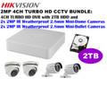 Hikvision 2MP TURBO HD 4CH CCTV BUNDLE: 4CH DVR w/2TB + 4x 2MP 2.8mm IR Cameras