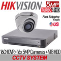5MP 16CH TURBOHD Hikvision Kit: 16CH DVR w/4TB HDD+16x IR IP67 2.8mm Mini-Dome