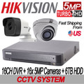 5MP 16CH TURBOHD Hikvision Kit: 16CH DVR w/6TB HDD+16x IR IP67 2.8mm Cameras