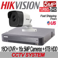 5MP 16CH TURBOHD Hikvision Kit: 16CH DVR w/6TB HDD+ 16x IR IP67 2.8mm Mini-Bullet