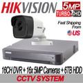 5MP 16CH TURBOHD Hikvision Kit: 16CH DVR w/6TB HDD+ 16x IR IP67 2.8mm Mini-Bullet