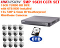 5MP 16CH TURBOHD Hikvision CCTV Bundle: 16CH DVR with 6TB HDD installed and 16 IR IP67 2.8mm Mini-Dome Cameras