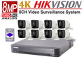 Hikvision 8MP 4K Security Camera System Kit 8CH DVR with 4TB HDD and 8x Bullet 4K Camera