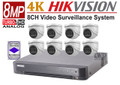 Hikvision 8MP 4K SecurityCamera System Kit 8CH DVR with 4TB HDD and 8x Dome 4K Camera